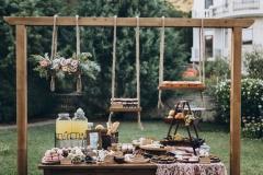 Wedding candy bar and cheese bar.
